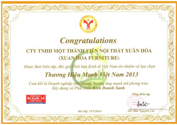 Chứng nhận thương hiệu mạnh Việt Nam